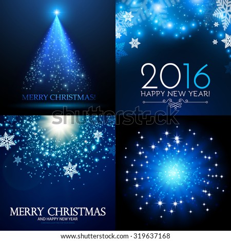 Shining Christmas background set. Vector illustration - stock vector