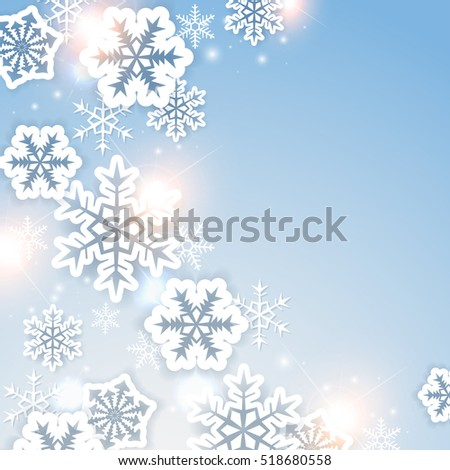 Shining Christmas background with paper white snowflakes. Design for card.