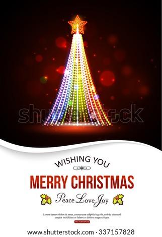 Shining Christmas Tree. Christmas Tree Holiday typographical Background. Christmas greeting card. Golden Christmas Tree Vector Illustration. - stock vector
