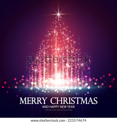 Shining Christmas tree. Vector illustration