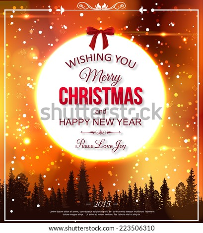 Shining christmas typographical background with blurred snowflakes, bokeh lights, falling snow and place for text. Vector illustration. - stock vector