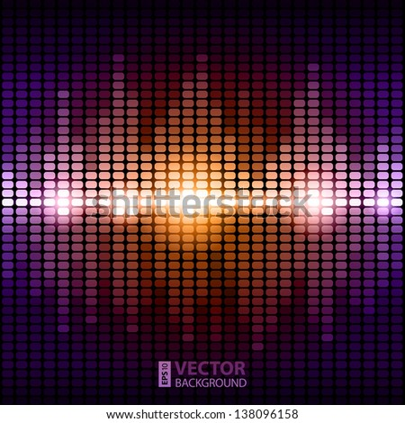 Shining colorful digital equalizer background with flares. RGB EPS 10 vector illustration - stock vector