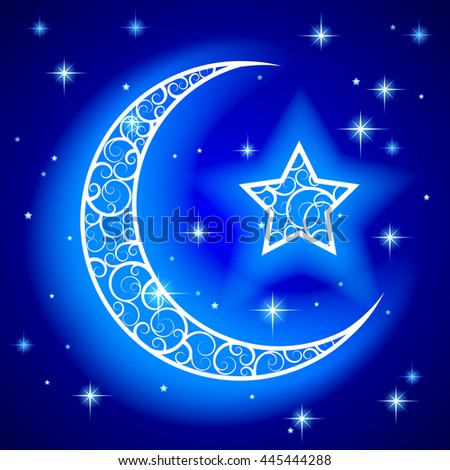 Shining decorative half moon with star on blue night starry sky background. Islamic design Ramadan Kareem greeting card and placard. Vector illustration. - stock vector