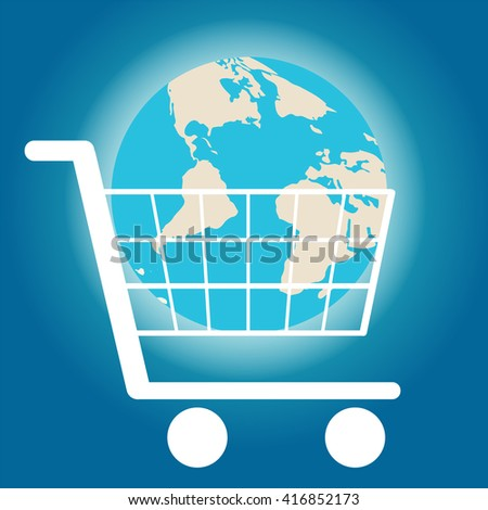 Shining earth in a shopping cart on a blue background. Vector illustration