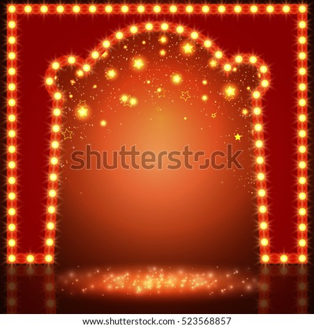 Shining empty space with arch and stars. Vector illustration