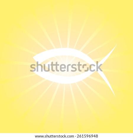 Shining fish symbol. Vector - stock vector