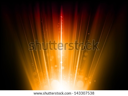 shining flare as orange abstract lines - stock vector