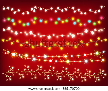 Shining garland colorful set on red background to decorate card, poster, banner, flyer and for Christmas design. Collection of glowing vector garlands - stock vector