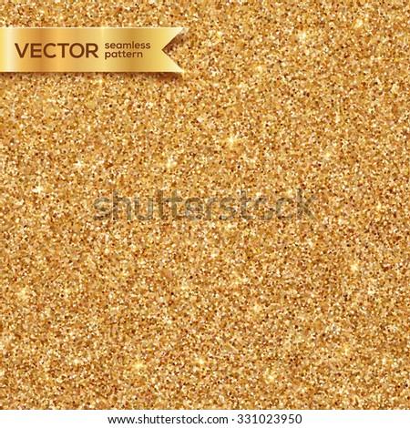 Shining golden glitter texture vector seamless pattern - stock vector