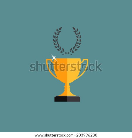 Shining golden trophy cup winner and champion with a laurel wreath.  - stock vector