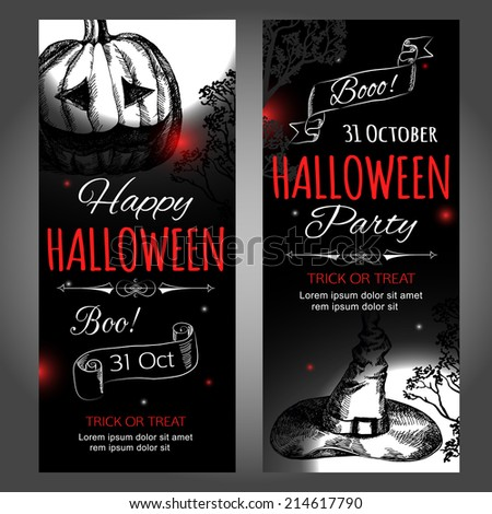 Shining halloween typographical banners. Vector illustration.