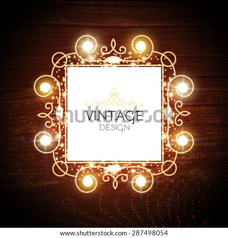 Shining jewelry banner on wood background. Vector illustration   - stock vector