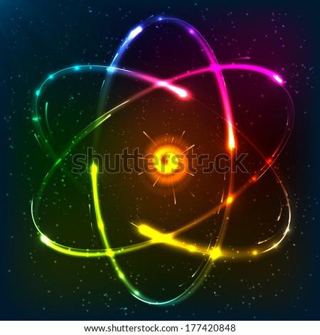Shining neon atom model, vector illustration - stock vector