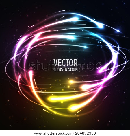 Shining Neon Lights Like Meteors in Sphere. Vector Illustration for artwork, party flyers, posters, banners - stock vector