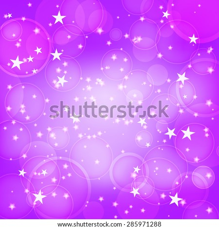 shining purple background with stars - stock vector