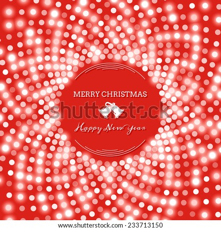 Shining red circular pattern of sequins. Christmas background with bells - stock vector