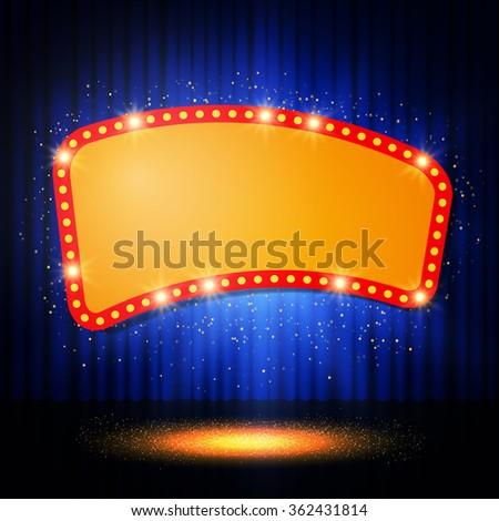 Shining retro casino banner on stage curtain. Vector illustration - stock vector