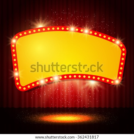 Shining retro casino banner on stage curtain. Vector illustration