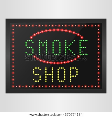 Shining retro light banner of smoke a shop on a black background.vector