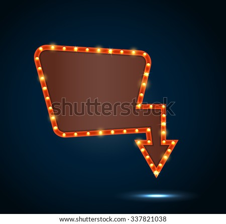 Shining retro light banner on blue background. vector - stock vector