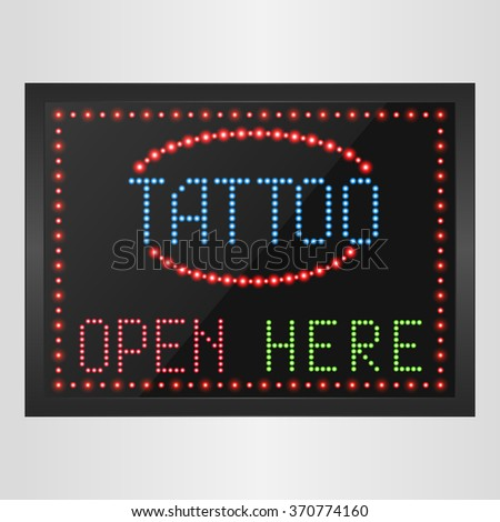 Shining retro light banner tattoo open here on a black background.vector