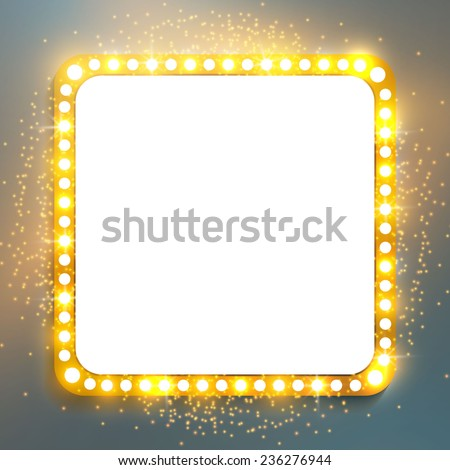 Shining retro square banner.  Vector illustration - stock vector