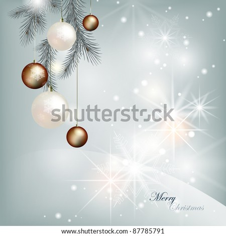 Shining silvery Christmas background with decorated coniferous branch - stock vector