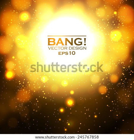 Shining space explosion with particles. Vector illustration - stock vector