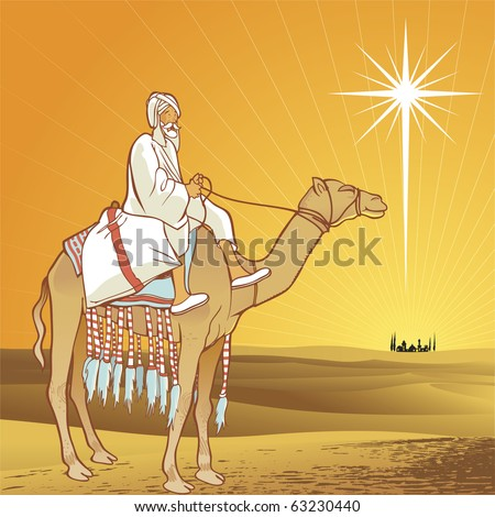 Shining star of Bethlehem. - stock vector