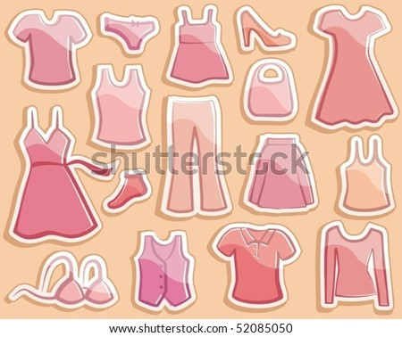 Shining stickers with lady's wear images - stock vector