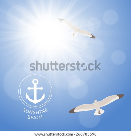 Shining summer sun at clear blue sky with seagulls. Two seagulls are flying high in the sky through the sunlight rays. - stock vector