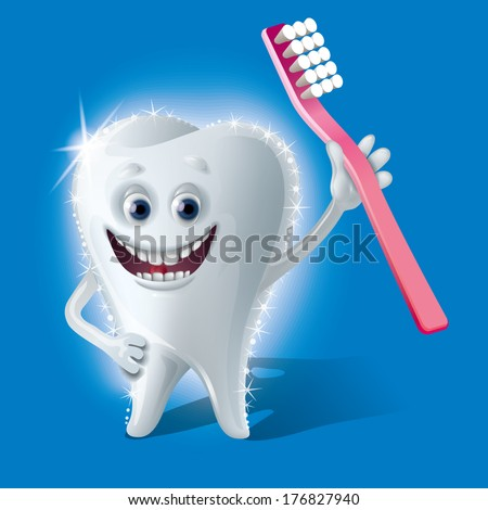 shining tooth - stock vector