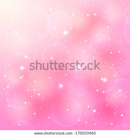 Shinny pink background with stars and blurry lights, illustration. - stock vector