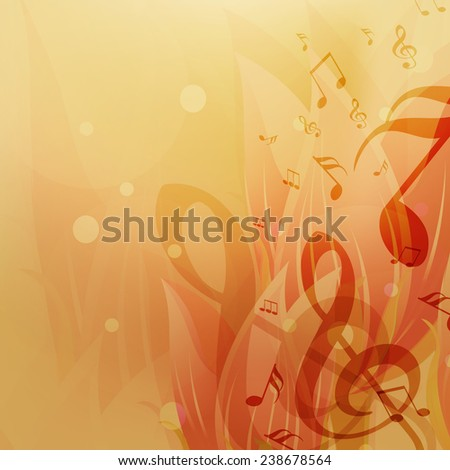 Shiny abstract background with musical notes. - stock vector