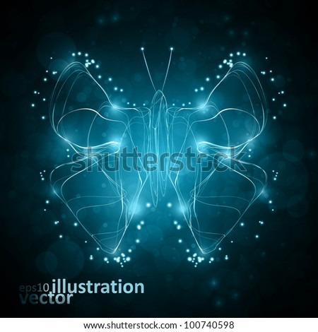 Shiny abstract butterfly, futuristic wave vector illustration eps10 - stock vector