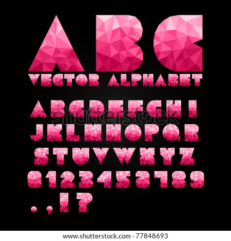 Shiny Alphabet With Numbers - stock vector