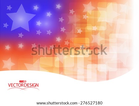Shiny American national flag waving for Fourth of July, Independence Day celebrations.  - stock vector