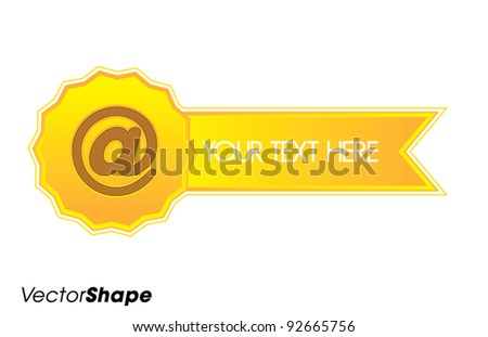 Shiny badge with 'at' sign, online shopping award concept, vector illustration