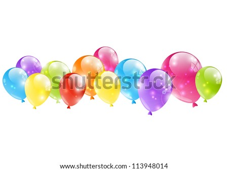 Shiny balloon border on white - stock vector