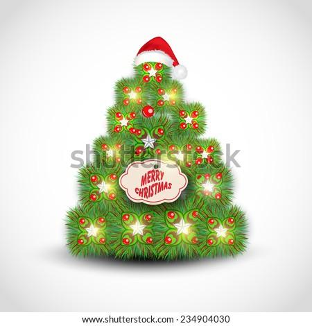 Shiny beautiful X-mas Tree decorated by mistletoe, Santa cap and tag of Merry Christmas on shiny grey background. - stock vector