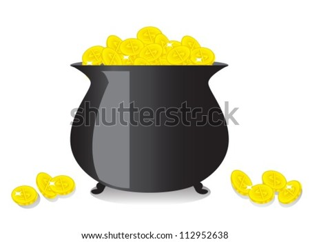 shiny black copper full of gold coins - stock vector