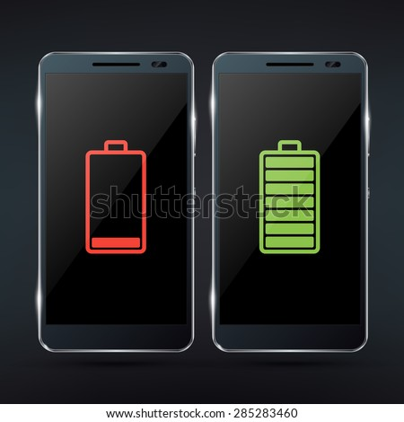 Shiny black photorealistic smartphone mock-up with red low battery icon and green full battery icon. Realistic vector illustration - stock vector