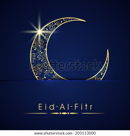 Shiny blue and golden crescent moon on blue background for the occasion of Muslim community festival Eid-Al-Fitr.  - stock vector