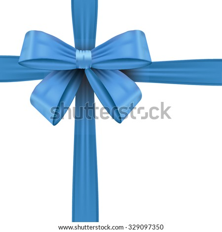 Shiny blue  bow ribbon on white background with copy space. - stock vector