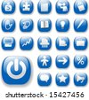 Shiny Blue Control Button Icons, internet website navigation symbols: money bag, puzzle piece, megaphone, people, bullhorn, price tag, power on, briefcase... - stock vector