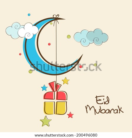 Shiny blue crescent moon with hanging colorful gift box in colorful sky background for Muslim community festival Eid Mubarak celebrations.  - stock vector