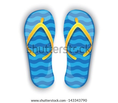 shiny blue flip flops with yellow elements on a white background