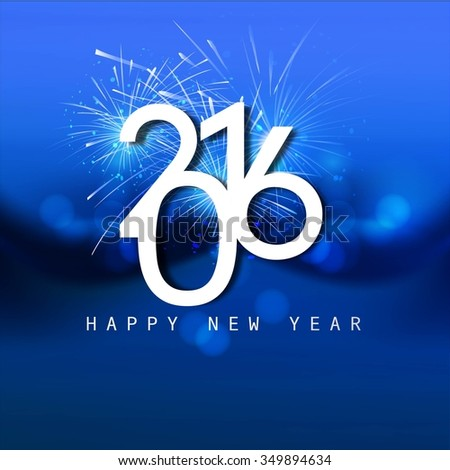 Shiny blue new year 2016 card - stock vector