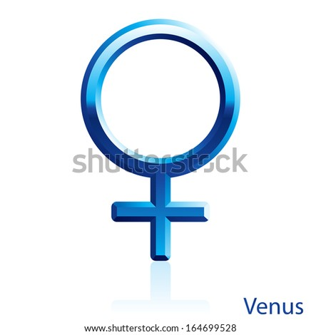 Shiny blue Venus sign on white background.