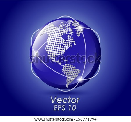 shiny blue world globe/ global network / vector illustration eps 10 - stock vector